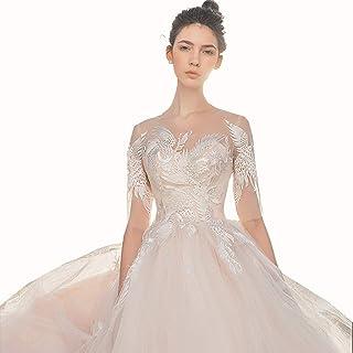 636f6edb98a CAIM-Robes Robe de mariée Vintage en Satin avec traîne de Mariage  européenne et américaine