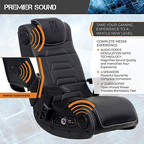 X Rocker Pro Series H3 Black Leather Vibrating Floor Video Gaming Chair with...