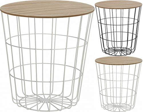 Fair-Shopping Tisch Beistelltisch Couchtisch Sofatisch Ablagetisch Holztisch mit Metallkorb H160/H170 Variation (Weiß)