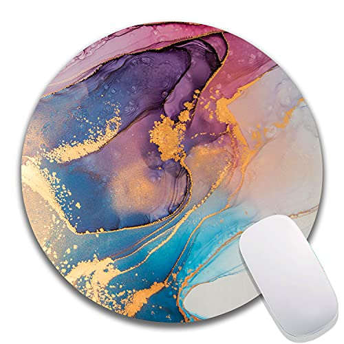 """Pretty Marble Mouse Pad, Modern Mouse Pad Gaming Mouse Mat Waterproof Circular Small Round Mouse Pad Non-Slip Rubber Base MousePads for Office Home Laptop Travel, 7.9""""x0.12"""" Inch"""