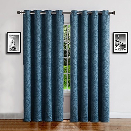 """WARM HOME DESIGNS 1 Panel of Standard Size Blue Teal 54"""" (Width) by 84"""" (Length) Textured Room Darkening Curtains with Embossed Damask Flower Pattern. Drapes Allow Privacy, Reduce Noise. EV Teal 54x84"""