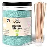 Greendoso- Zucchero Colorato per Zucchero Filato 1 Kg Mela per Macchina + 50 Bastoncini da 30 Cm (Offerti) + 1 Cucchiaio Misura