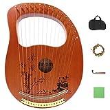 Rayzm Lyre Harp, instrumento de lira de caoba de madera maciza con diseño de patente, arpa de lejía portátil de 16 cuerdas de metal para adultos/niños/principiantes