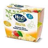 Hero Baby Tarrinas de Puré de Manzana Piña y Plátano con Cereales para Bebés a partir de 4 meses,  6 x (4 x 100 g)