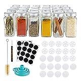 Gadgy Botes Especias | Juego de 24 Tarros de Cristal con Tapa | Especias Organizador | Spice Jars | Tarritos de Cristal Pequeños Incluye Tapas Para Espolvorear Etiquetas y Marcador De Tiza
