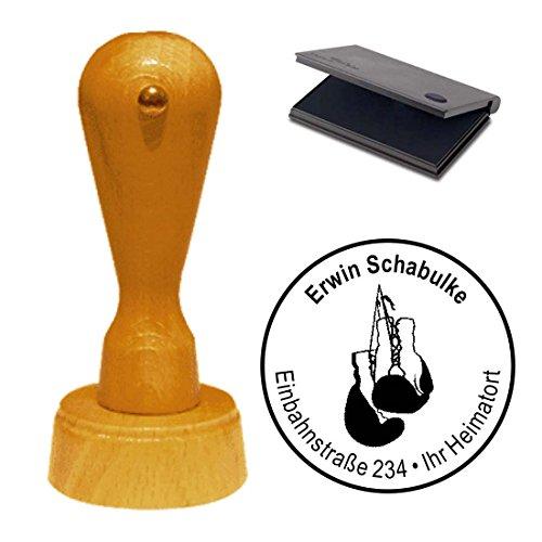 Stempel met kussen « BOXHANDSCHOENEN » Adressenstempel firmastempel Sportvereniging Boxen Boxsport