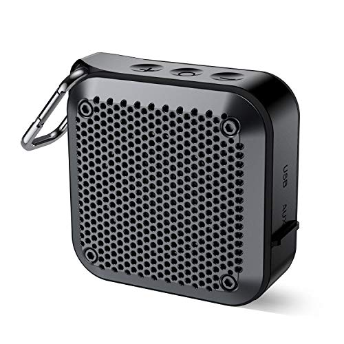 Wireless Portable Bluetooth Speaker with Hook (2020 New) IPX7 Waterproof Speaker Small Outdoor Portable Speaker 10Hrs Playtime with Mic Aux-in TF Slot for Shower Bath Pool Beach Kayaking (Black)