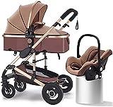 Sistema de viaje Cochecito de bebé 3 en 1 carro de bebé, cochecito a un cochecito de niño con ángulo de altura de asiento ajustable y absorción de choque de cuatro ruedas, cochecito de moda reversible