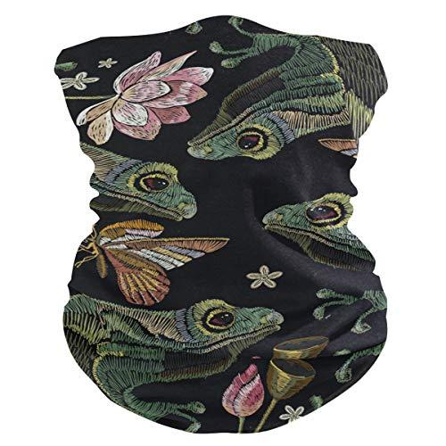 Stoff-Gesichtsmaske für Damen, multifunktional, Bandanas, Schnittmuster, unisex, bestickt, Frosch-Design, Stoffmaske, Muster, bedruckbar, für Herren und Damen, Kopfbedeckung, Kopftuch, waschbar
