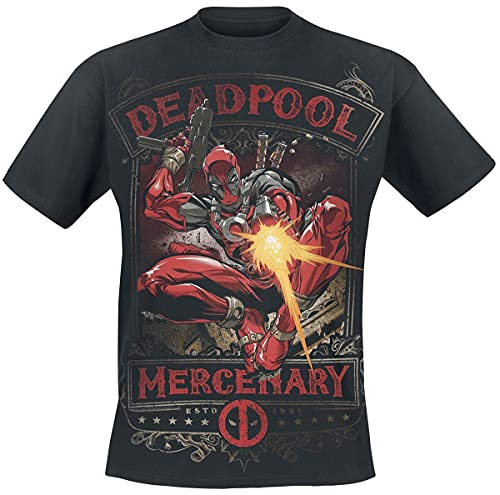 Deadpool Mercenary Hombre Camiseta Negro L, 100% algodón, Regular