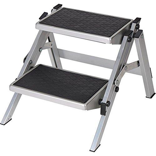 Berger Doppeltrittstufe Aluminium klappbar, Silber/schwarz, bis 150 kg Belastbar, Klapptritt, Trittstufe