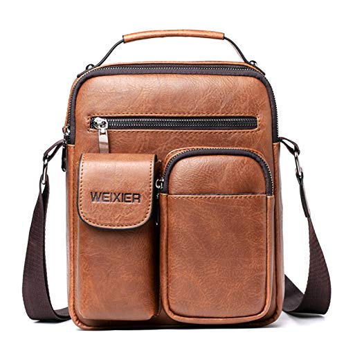 YMG Men's Small Shoulder Bag, Retro Lightweight PU Leather Cross Body Everyday Satchel Bag for Business Casual,Light Brown