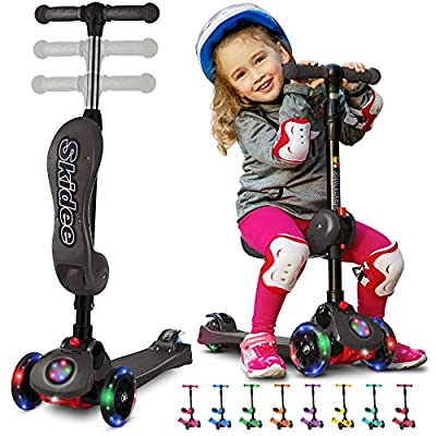 SKIDEE Y100 2-in-1 Scooter for Kids with Folding Removable Seat Zero Assembly–Adjustable Height Kick Scooter for Toddlers Girls & Boys 2-12 Years-Old – Fun Outdoor Toys for Kids 3 LED Flashing Wheels