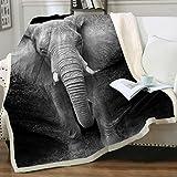 Sleepwish Elephant Blanket Adult Super Soft Cozy Sherpa Fleece Throw Blanket Black White 3D African Elephant Walking Blanket for Men Boys (Throw 50' x 60')