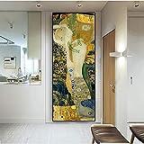 Gustav Klimt Golden Kiss Pintura al óleo abstracta Impresiones en lienzo Modern Classic Artist Posters Arte de pared para decoraciones de dormitorio 40x120cm (16x47in) Con marco