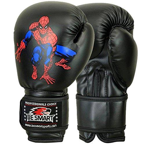 Super Heroes 113g / 170 g Kinder-Boxhandschuhe - mit Geleinlagen für Kinder , Kinder, Black - Spider - Man, 4 Oz