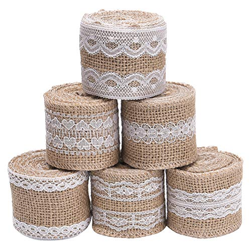 Livder 6 Rolls 2 Inch Width Natural Jute Burlap Ribbon with White Lace for DIY Home Decoration, Wedding Party and Gift Packaging