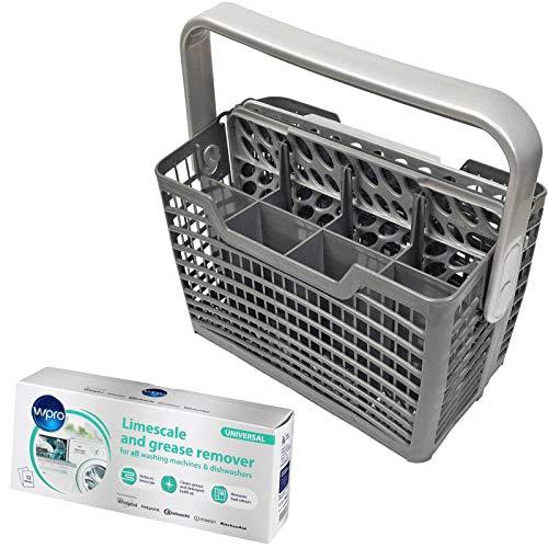 SPARES2GO Panier à couverts et sachets de nettoyage anti-calcaire pour lave-vaisselle Whirlpool