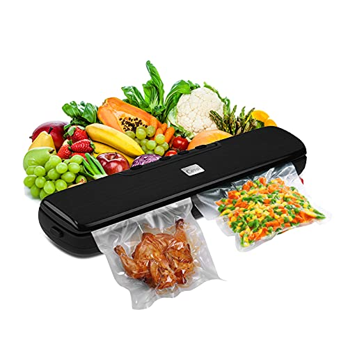 Covoi Vacuum Sealer Machine, Automatic Food Sealer with 15 Vacuum Heat Sealer Bags for Food Saver,Dry Moist Point Outer Seal Five Preservation Modes Food Vacuum Sealer for Meat Fish Vegetables Cookies