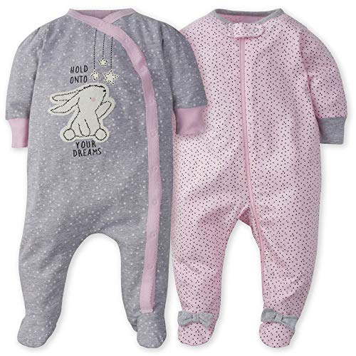 Gerber Baby Girls' 2-Pack Sleep 'N Play, Bunny Love, 6-9 Months