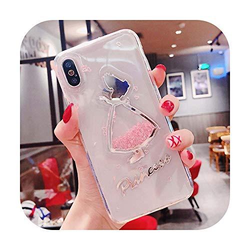Vestido Lindo Chica Teléfono Casos Para iPhone 6 6S 7 8 Plus X XR XS Max Plástico Transparente Líquido Transparente Resistente a la suciedad Cubierta Brillantina