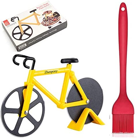 Zhenpony Bicycle Pizza Cutter Wheel Super Sharp and Easy To Clean Slicer Non stick Dual Stainless product image