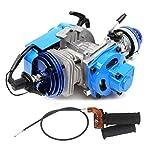 49cc 52cc Big Bore Pocket Bike Engine with Performance Cylinder CNC Engine Cover Racing Carburetor DIY Engine Blue + Handle Grip + Throttle Cable
