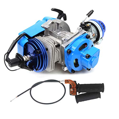 49cc 52cc Big Bore Pocket Bike Engine with Performance Cylinder CNC Engine Cover Racing Carburetor DIY Engine Blue + Handle Grip + Throttle Cable
