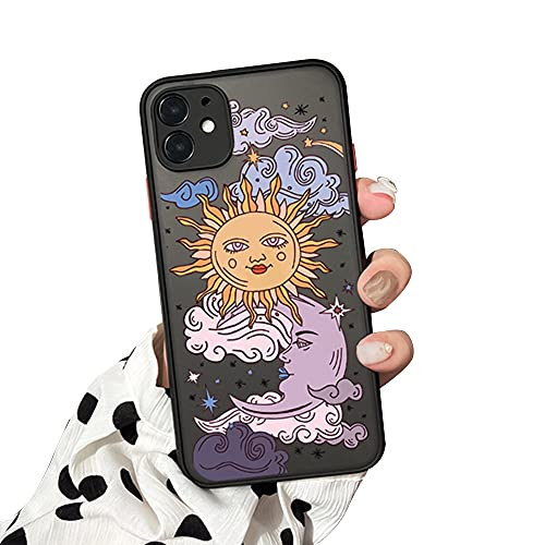 Ownest Compatible with iPhone 11 Case for Clear Frosted PC Back 3D Sun Moon Cartoons Girls Woman and Soft TPU Bumper Silicone Slim Case for iPhone 11-Black