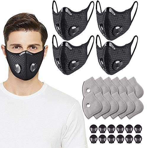 Black Reusable Dust Face Guard with 6Pcs Additional Activated Carbon Filter for Outdoor Sport
