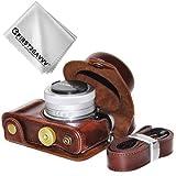 First2savvv Marron Oscuro Funda Cámara Cuero de la PU cámara Digital Bolsa Caso Cubierta con Correa para Panasonic Lumix DC-GF9.GF8,GF7,GX850.GX800 (12-32mm Lens) XJD-GF9-10G11