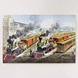 ANGELA G Wooden Jigsaw Puzzle 500 Piece for Adults, Vintage Steam Trains Travel Illustration Art Jigsaw Puzzle Game Toys Gift Jigsaw Puzzle