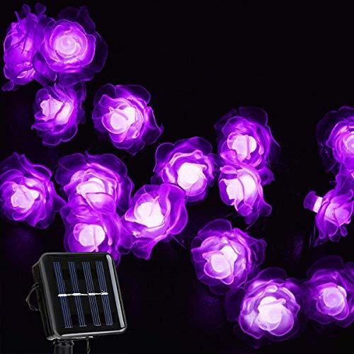 Catena Luminosa Solare, KEEDA 20 LED Rosa Fiore Stringa Luci Solari Impermeabile Esterno Giardino Decorazione per Terrazza Cortili Matrimonio Natale Festa (Viola)
