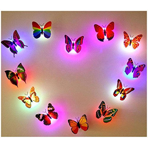 MML 10pc 3D Butterfly Stickers LED Lights Wallpaper DIY Wall Stickers Decals Art Crafts Home Bedroom Decoration