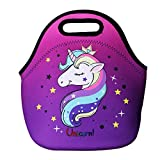 Cute Unicorn Lunch Bag for Kids, Waterproof Insulated Neoprene Lunch Tote with Zipper for School...