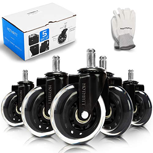 Universal Office Chair Wheel Replacement 3' Chair Casters Safe for Hardwood,Carpet All Floors Noiseless,Heavy Duty,Roll Smoothly and Change Direction Easily,Desk Chair,Gaming Chair,Set of 5