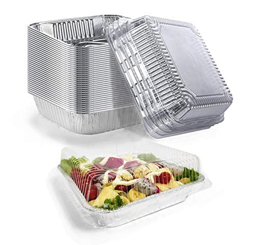 Aluminum Pans Disposable with Lids | Heavy Duty Foil Pans for Baking | 8x8 Square Cake Pans - Take Out Food Containers