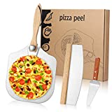 MacaRio Foldable Pizza Peel & Rocker Cutter & Server Set, 12' x 14' Aluminum Metal Pizza Paddle with...