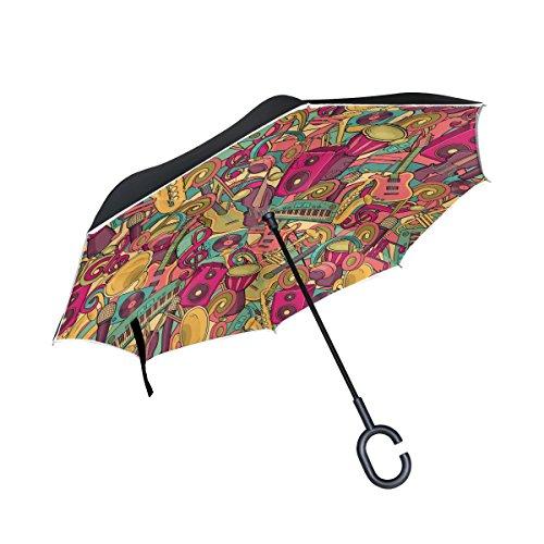 Ahomy Invertierter Regenschirm mit Buntem Notenmikrofon, Gitarre, Klavier, Musikinstrumente, groß, doppelt, Winddicht, Regenschutz, Auto-Rückwärtsschirme mit C-förmigem Griff