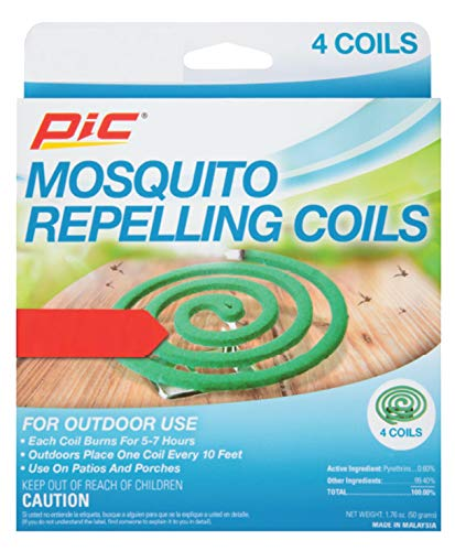 PIC Mosquito Repelling Coils, 4 Count Box, 2 Pack - Mosquito Repellent for Outdoor Spaces - 8 Coils Total