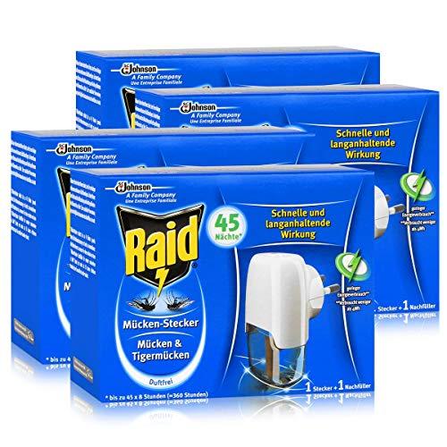 4x Raid Mücken Stecker inkl. Nachfüller für ca. 45 Nächte Mückenfrei