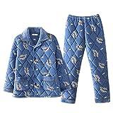 DFDLNL Pijamas de Invierno para Hombre, Conjunto de Pijama de Franela Acolchado de Tres Capas, Polar de Coral, Ropa de hogar Gruesa Informal, Ropa de Dormir cálida, Pijama XXXL