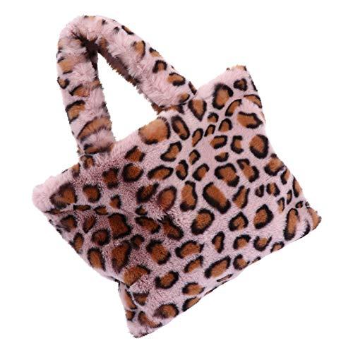 VALICLUD Top Handle Satchel Crossbody Bag with Chain Faux Fur Purse Leopard Print Tote Handbag for Women