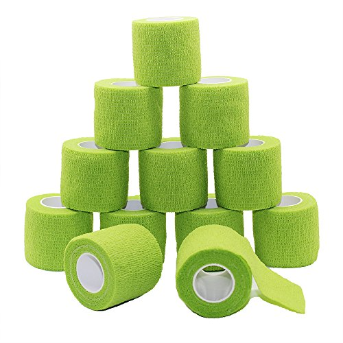 Fuluning, Vet Wrap, cinta de portero, envoltura atlética, 5 cm vendajes cohesivos, bandas de crepes, vendaje flexible,caucho natural 5 cm x 4,5 m, verde oliva