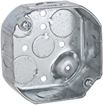 Hubbell-Raco 127 Octagon Box, 4-Inch, Raised Ground 1-1/2-Inch Deep 1/2-Inch and 3/4-Inch Side Knockouts, Gray Finish