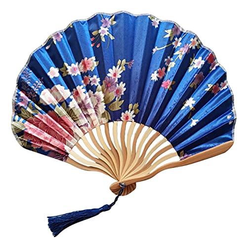 Geschikt voor klassieke bloemen doek bamboe geweven vouwen dans hand fan beige zomer retro bamboe vouwen hand fan (Color : G)
