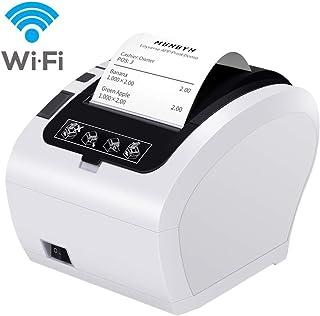 MUNBYN Impresora de Ticket Térmica WIFI Inalámbrica, Tiketera de 80mm de Recibos, Impresora Etiquetas Velocidad 300mm/s ESC/POS USB Compatible con Android/ Windows, Blanca