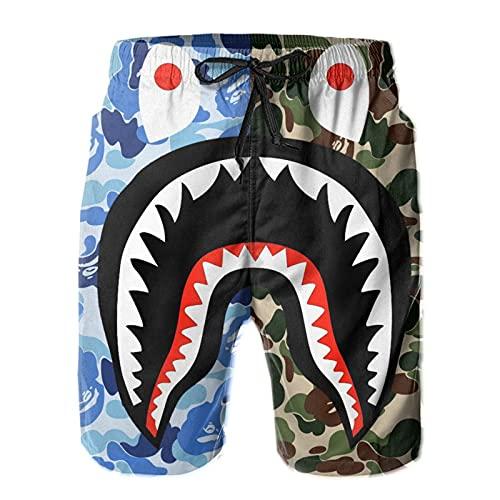 Inaayayi Pantalones cortos de playa para hombre pantalones cortos de secado rápido con cordón Boardshorts, 3 Navy Bape Camo Ocean Shark Mouth, XXL