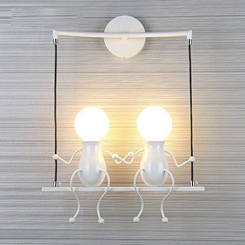 FSTH Creativo Lámparas de Pared Simple Fashion Doll Swing Lámpara de Pared Moderna Apliques de Pared Metal Lámpara de Pared para Dormitorio, Escalera, Pasillo, Restaurante, Cocina E27 (Blanco-2)