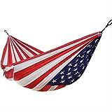 ZYHA Hamac Camping en Plein Air Hamac 1-2 Personnes US Drapeau Impression Parachute Tissu Couchage Lit Hamac Jour De L'indépendance Cadeau 270 * 140 cm comme indiqué